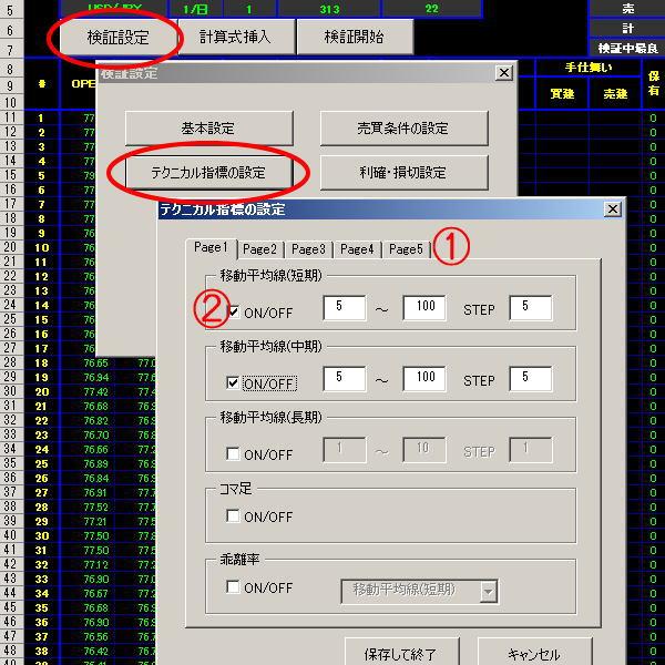 テクニカル指標設定画面